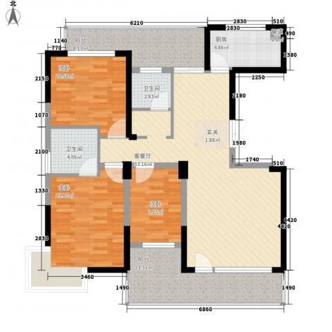 博林金谷四期3室1厅2卫1厨137.00㎡户型图