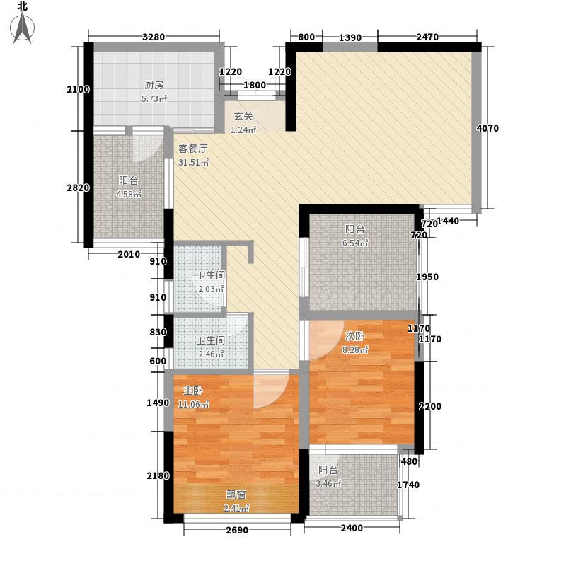 莱茵小镇四期4.71㎡21栋C户型2室2厅1卫1厨