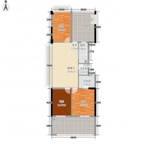 水云居3室1厅2卫1厨147.00㎡户型图