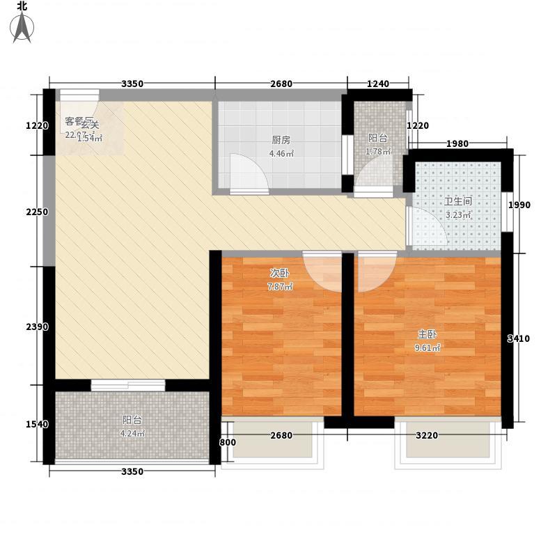 美景鸿城77.00㎡三期3号楼C户型2室2厅1卫1厨