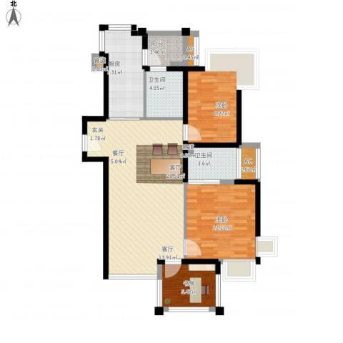 绿中海明苑3室1厅2卫1厨107.00㎡户型图