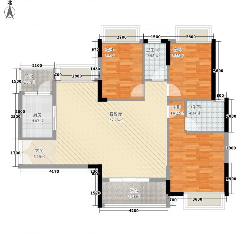 丽景名筑112.58㎡户型3室2厅2卫1厨