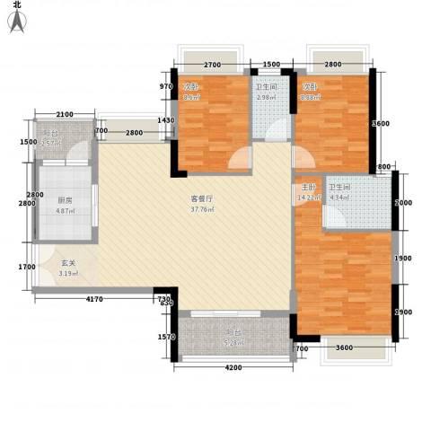 丽景名筑3室1厅2卫1厨113.00㎡户型图