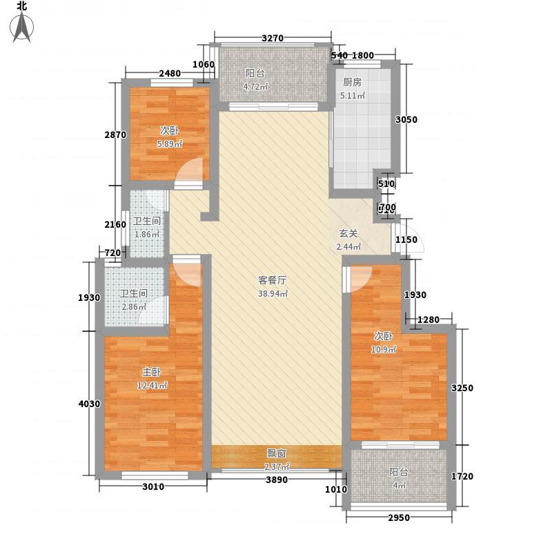 盛唐山河成124.00㎡臻园组团B户型3室2厅2卫1厨