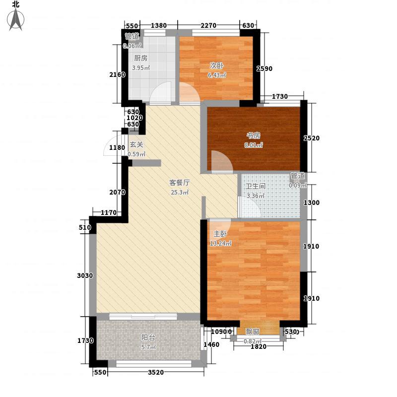 东方美郡1.54㎡6#B户型3室2厅1卫1厨