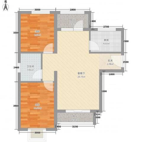 兴旺小区2室1厅1卫1厨84.00㎡户型图
