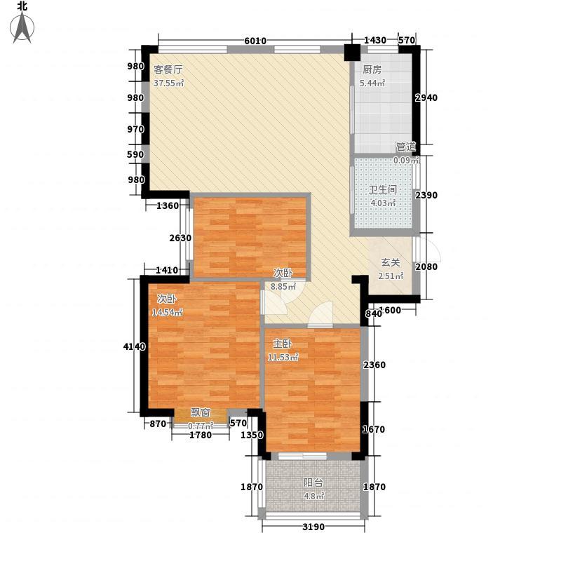 盛世华府122.00㎡C户型3室2厅1卫1厨