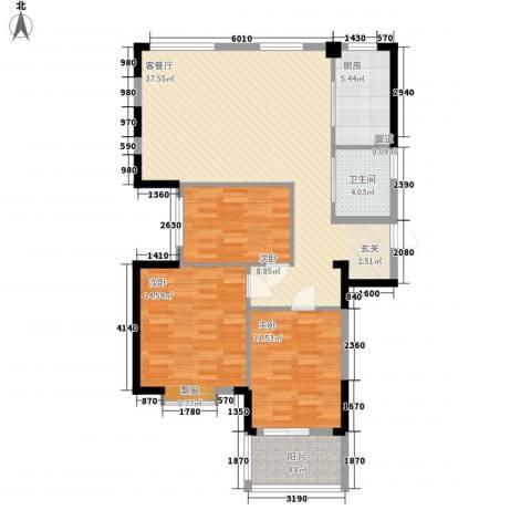 盛世华府3室1厅1卫1厨122.00㎡户型图