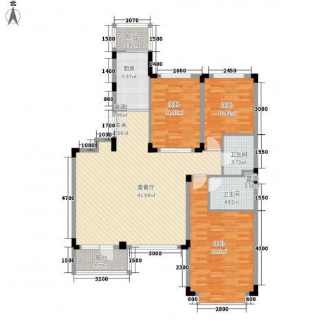 万达长白山国际度假区3室1厅2卫1厨104.58㎡户型图