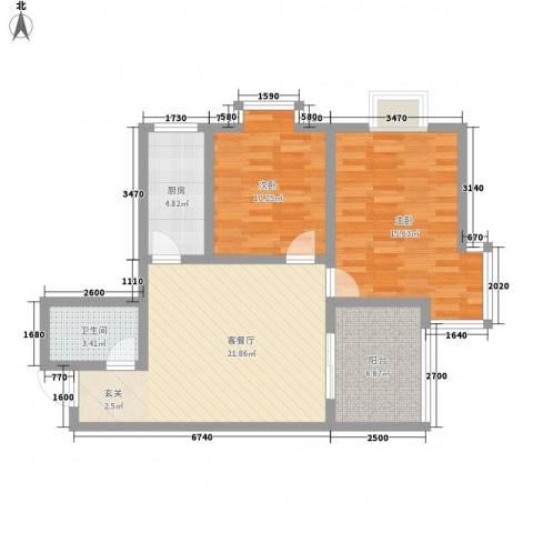 伟丰花园2室1厅1卫1厨91.00㎡户型图