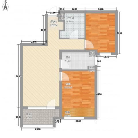 潮白河孔雀城・温莎郡2室1厅1卫1厨83.00㎡户型图