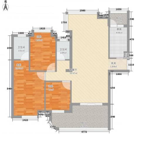 泰豪绿湖新村3室1厅2卫1厨118.00㎡户型图