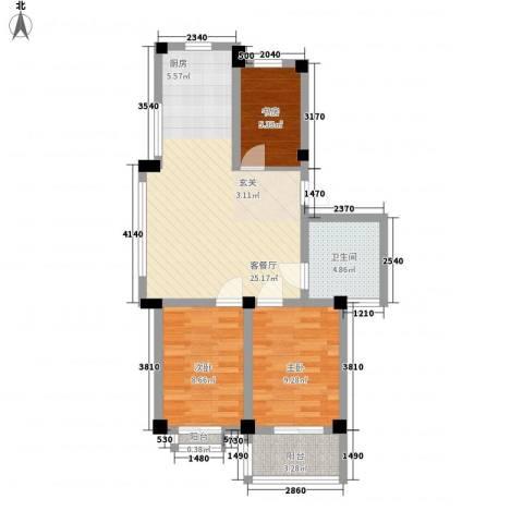 华庭美第3室1厅1卫0厨83.00㎡户型图
