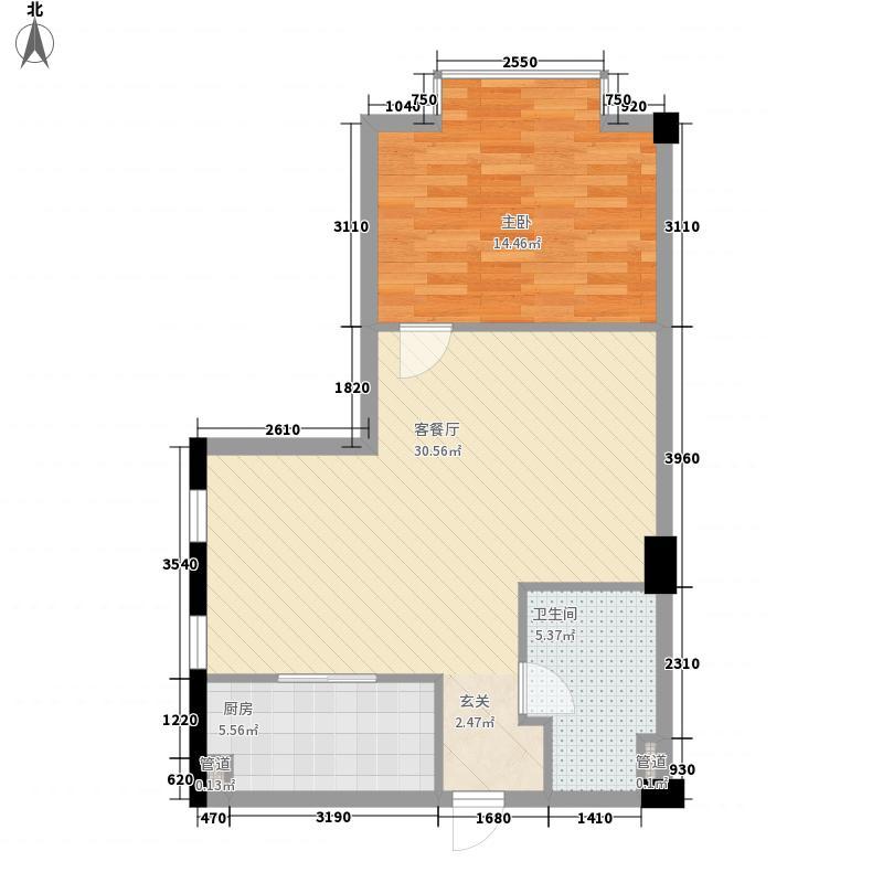 侨鸿国际qhgj2户型1室1厅1卫1厨