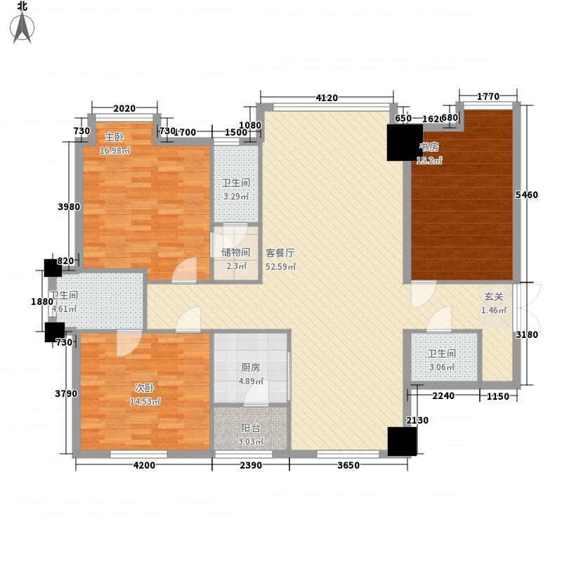 银城大厦166.82㎡标准层户型3室2厅2卫1厨