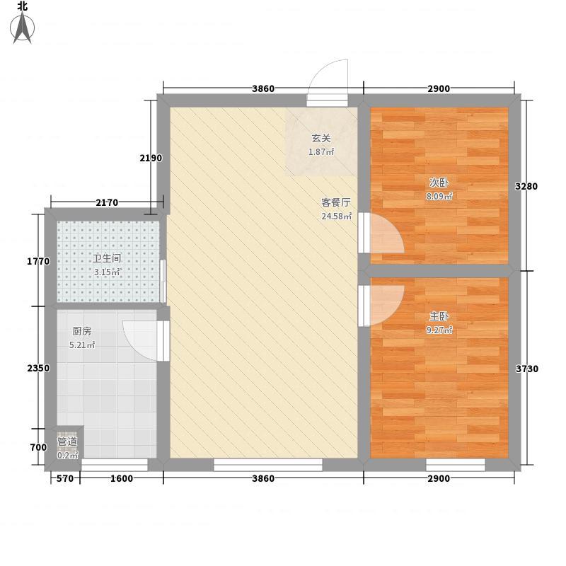 万龙名城71.28㎡一期A10户型2室2厅1卫