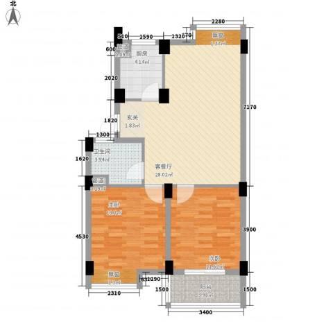 颐和名苑2室1厅1卫1厨78.00㎡户型图