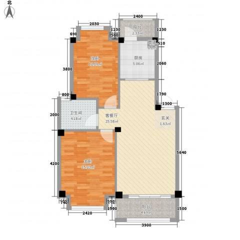 香榭丽都2室1厅1卫1厨69.25㎡户型图