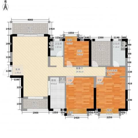 保利中央公馆3室1厅2卫1厨125.00㎡户型图