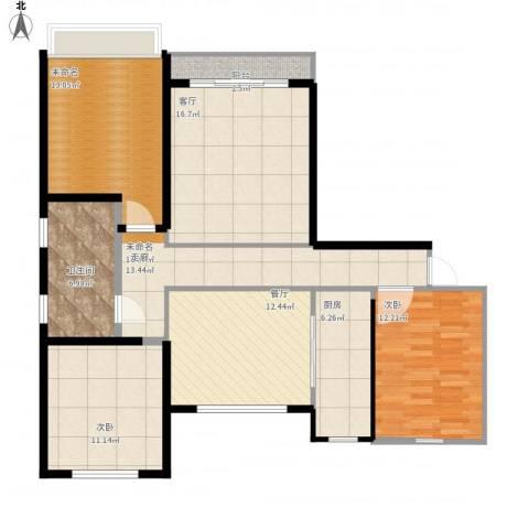 丽晶名邸2室2厅1卫1厨129.00㎡户型图