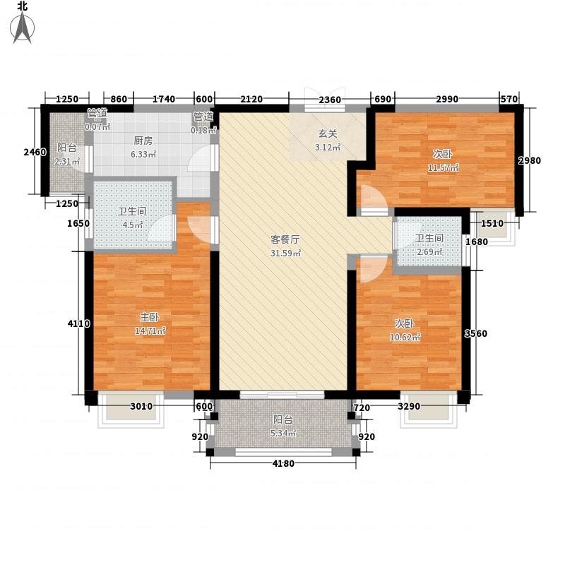 英地金台府邸3室1厅2卫1厨128.00㎡户型图