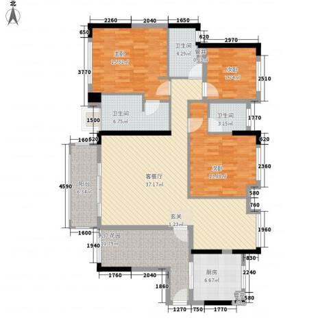 朗润园3室1厅3卫1厨161.00㎡户型图