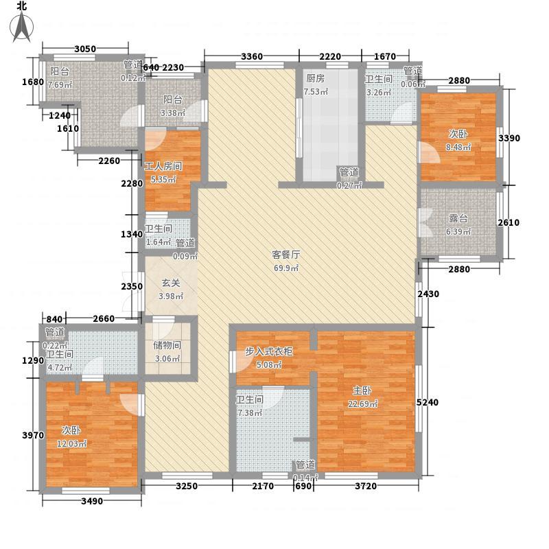 风格�院236.00㎡高层标准层N户型5室2厅2卫1厨