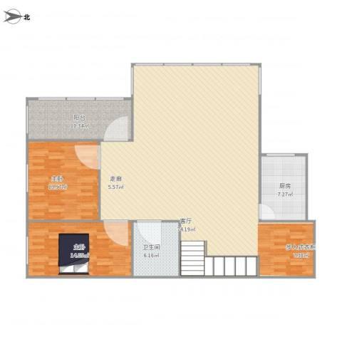 大洲城市花园2室1厅1卫1厨166.00㎡户型图