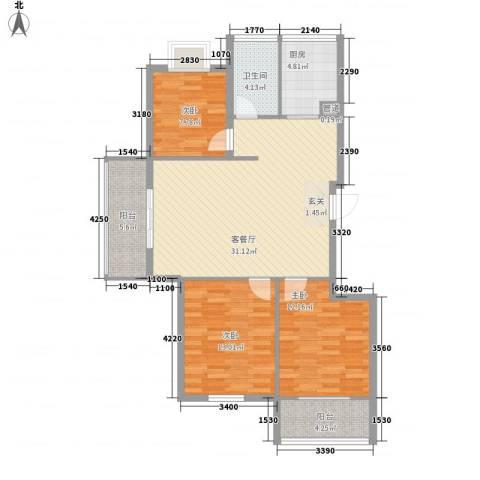 柳岸晨韵3室1厅1卫1厨116.00㎡户型图