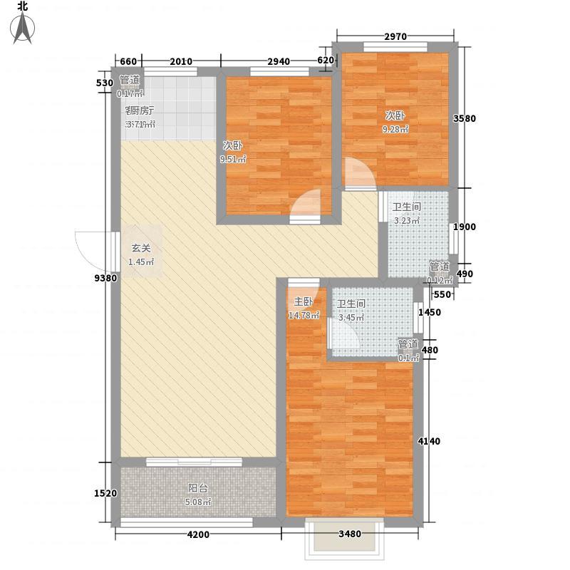 坤德�庭125.30㎡5号楼1单元标准层E户型3室2厅2卫1厨