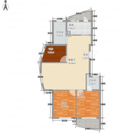 柳岸晨韵3室1厅2卫1厨126.00㎡户型图