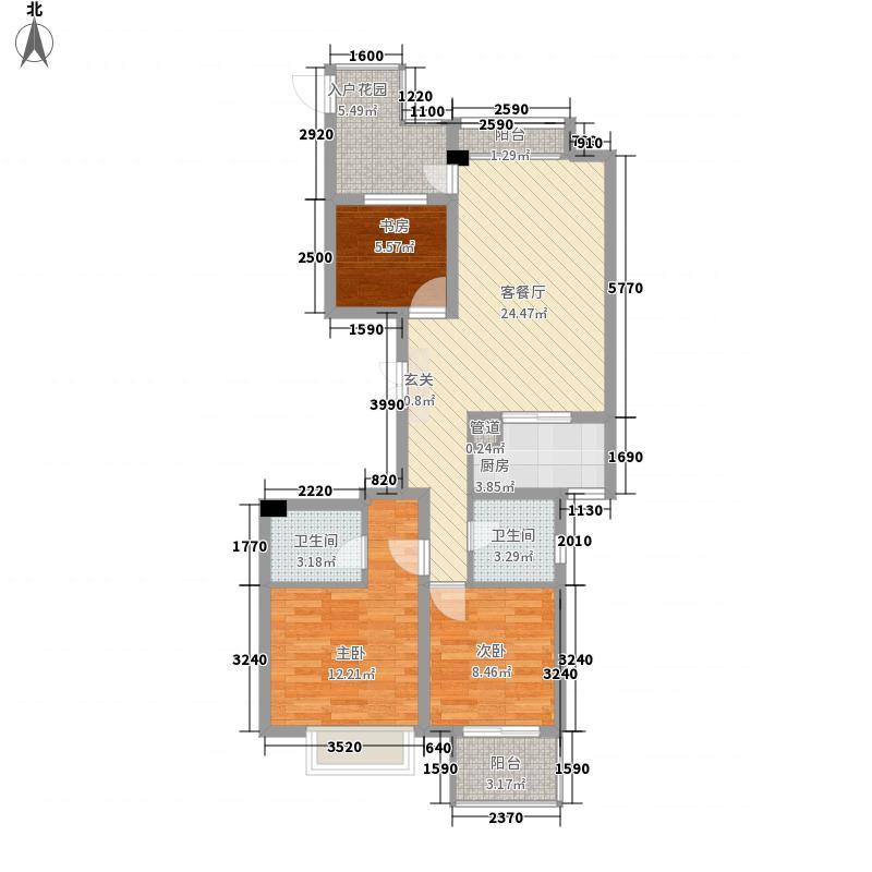 宝业桐城绿苑112.00㎡3#C户型3室2厅2卫1厨