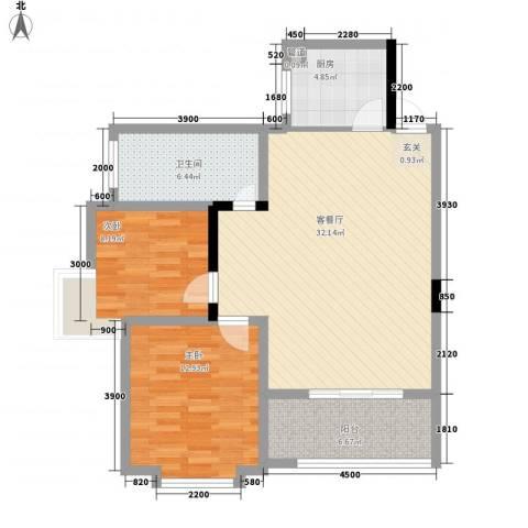 祯祥国际2室1厅1卫1厨94.00㎡户型图