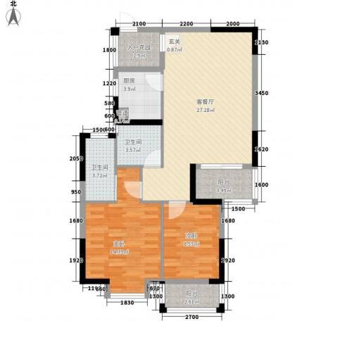 湖南省物资厅宿舍2室1厅2卫1厨101.00㎡户型图