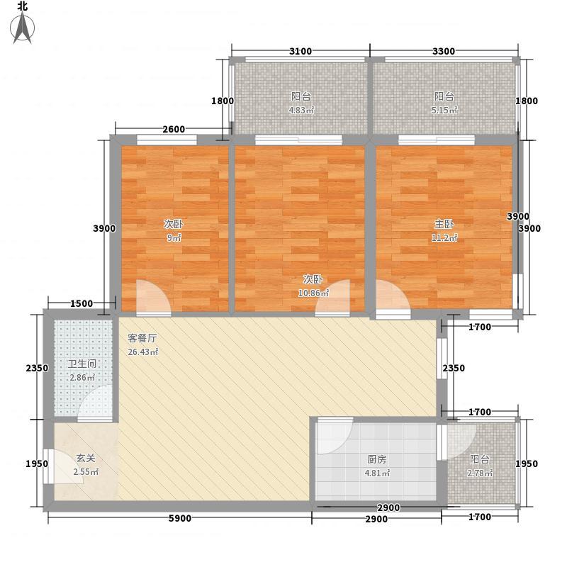 金盛园15.14㎡B户型3室2厅1卫1厨