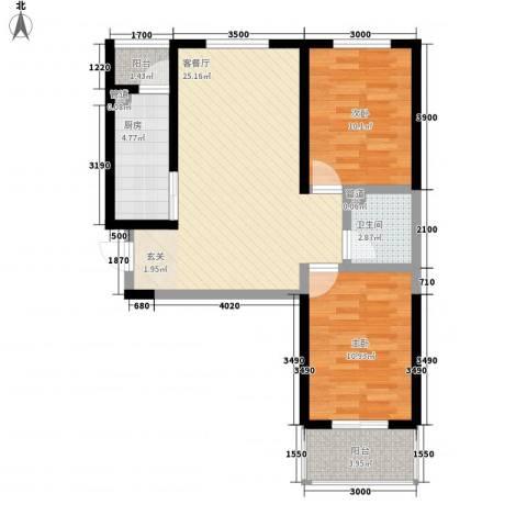 莱茵香榭2室1厅1卫1厨83.00㎡户型图