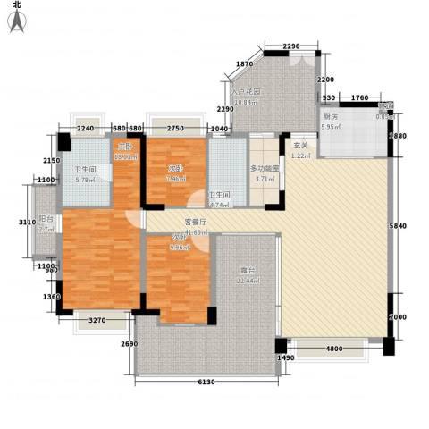 水云居3室1厅2卫1厨133.43㎡户型图