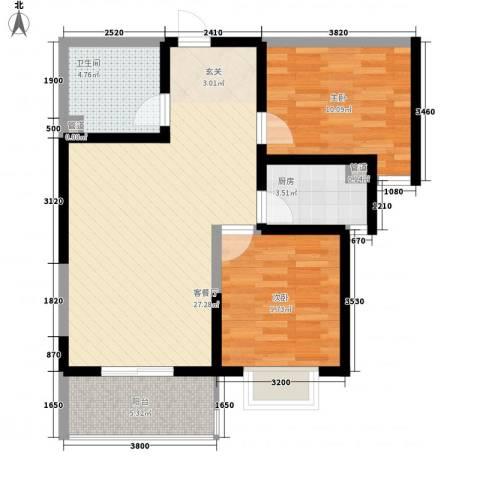 莱茵香榭2室1厅1卫1厨82.00㎡户型图