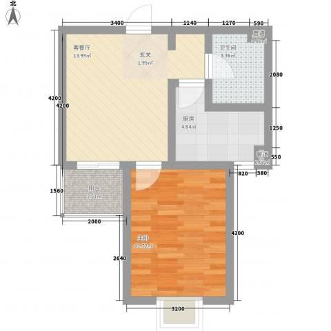 莱茵香榭1室1厅1卫1厨58.00㎡户型图
