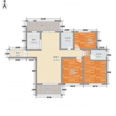 蓝柏湾3室1厅2卫1厨135.00㎡户型图