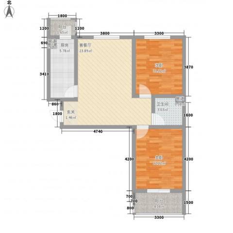 莱茵香榭2室1厅1卫1厨86.00㎡户型图