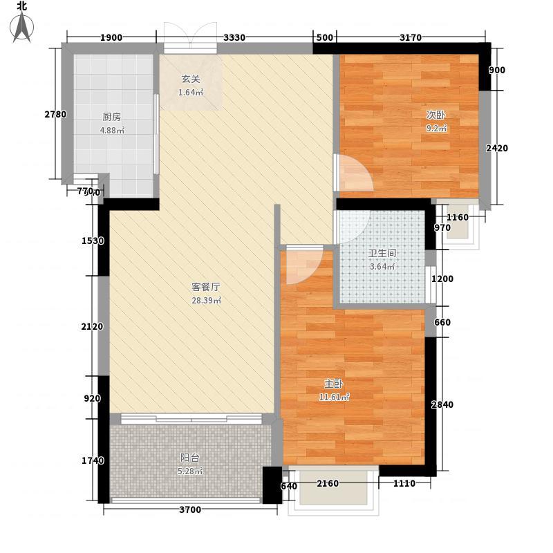 金座丽景88.16㎡C户型2室2厅1卫1厨