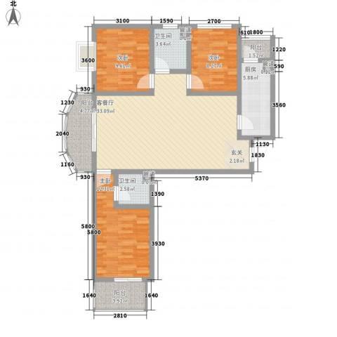 莱茵香榭3室1厅2卫1厨85.88㎡户型图