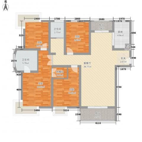 南山巴黎印象4室1厅2卫1厨106.79㎡户型图