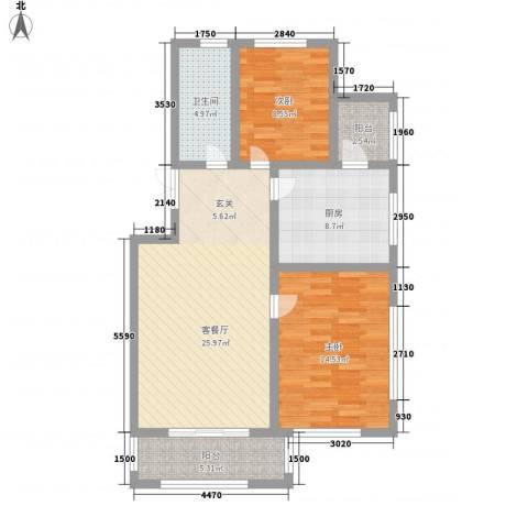 盛世景苑2室1厅1卫1厨102.00㎡户型图