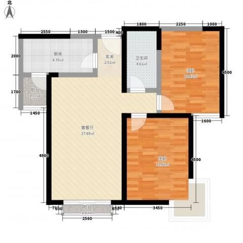 锦华庭2室1厅1卫1厨98.00㎡户型图