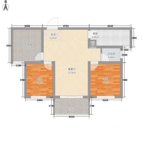 金域蓝湾2室1厅1卫1厨99.00㎡户型图
