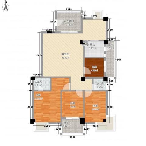江畔芳庭4室1厅2卫1厨127.00㎡户型图