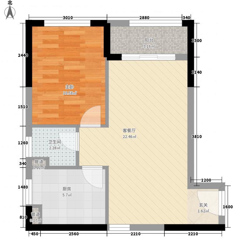惠东国际新城6.00㎡28栋A-2户型1室2厅1卫1厨