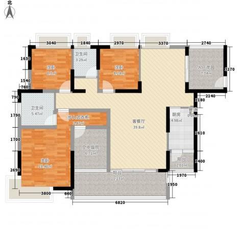 香樟国际3室1厅2卫1厨167.00㎡户型图